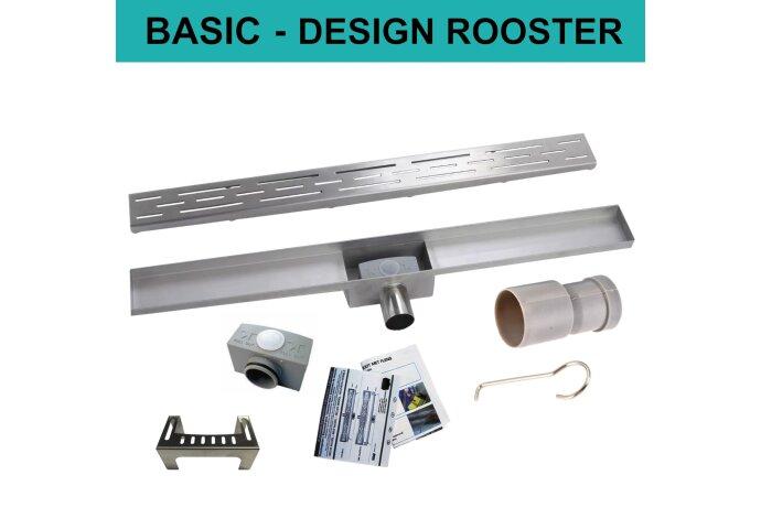 RVS Douchegoot BASIC met uitneembaar sifon STANDAARD ROOSTER BWTP/DRDESIGNBASIC