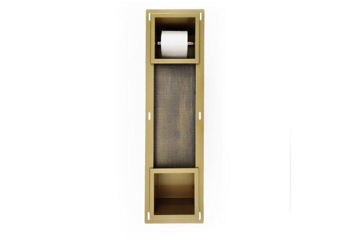 Inbouw Toiletrolhouder BWS met Reserve Rolhouder RVS Goud