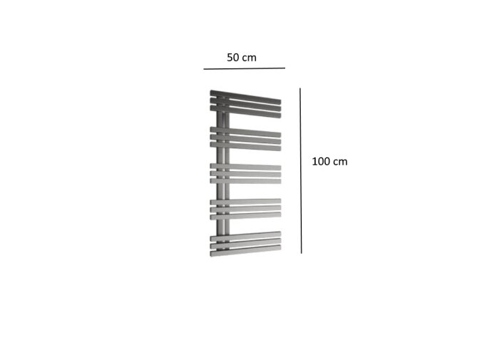 Designradiator Plieger Inox Suono Destra 464 Watt Middenaansluiting 100x50 cm Inox-Look