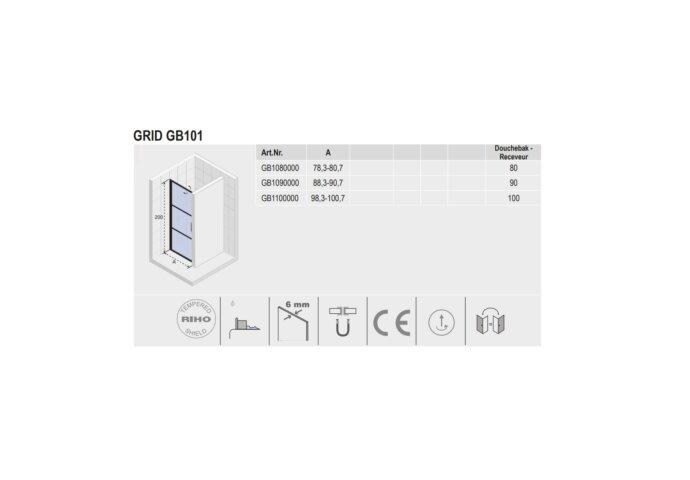 Douchedeur met Klapdeur Riho Grid 90x200 cm 6 mm Helderglas Zwarte Profielen