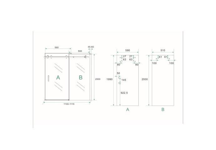 BWS 2 Delige Nis Schuifdeur 110x200 cm 8 mm NANO Coating