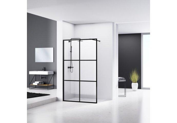 Douchewand Van Rijn ST04 Helder Glas 8 mm 6 delen Aluminium Profiel Zwart 100x200 cm
