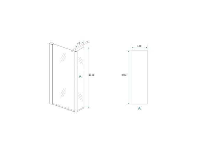 AKTIE Zijwand Boss & Wessing Hoekprofiel 30x200cm EasyClean