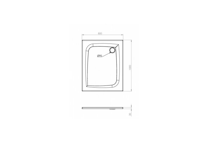 Douchebak Allibert Jacana Vierkant 100x80x3 cm Rechthoekig Bioplax Hoogglans Wit