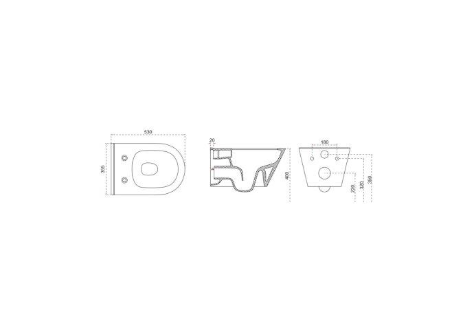 Wandcloset Boss & Wessing Randloos 53 cm Met Bidet-functie Mat Wit