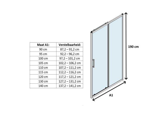 Schuifdeur Lacus Lipari Helder Glas Chroom Aluminium Chroom Profiel (alle maten)