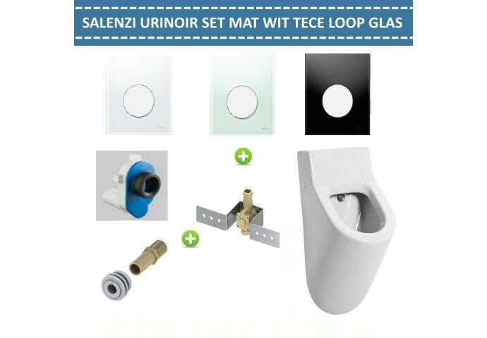 Urinoir Set Salenzi Hung Achterinlaat Mat Wit met TECE Loop Drukplaat Glas