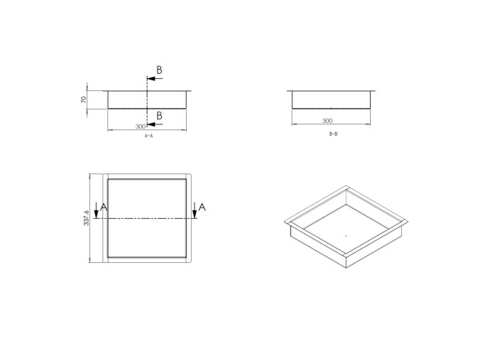 Inbouwnis Wiesbaden 30x30x7 cm RVS Mat Zwart