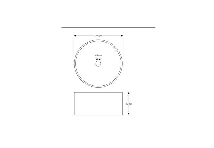 Waskom Opbouw Salenzi Beton 40x19 cm Rond Mat Grijs