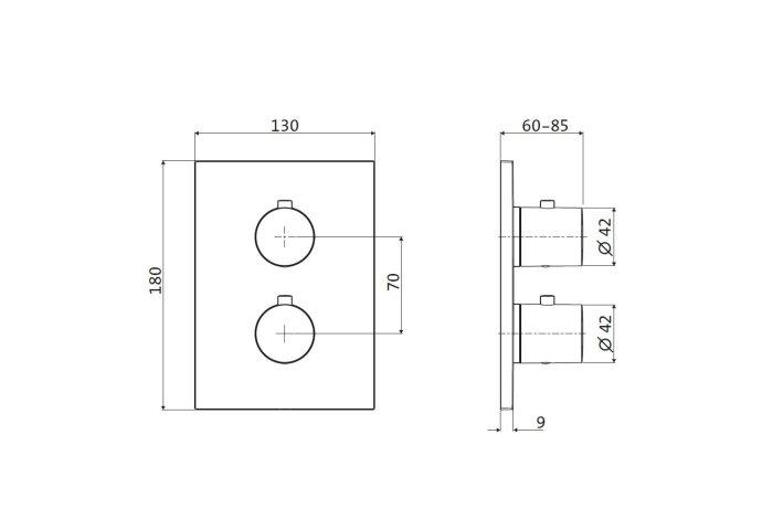 Inbouw Douchekraan 3-Weg Herzbach Design IX Thermostatisch PVD-Coating Koper