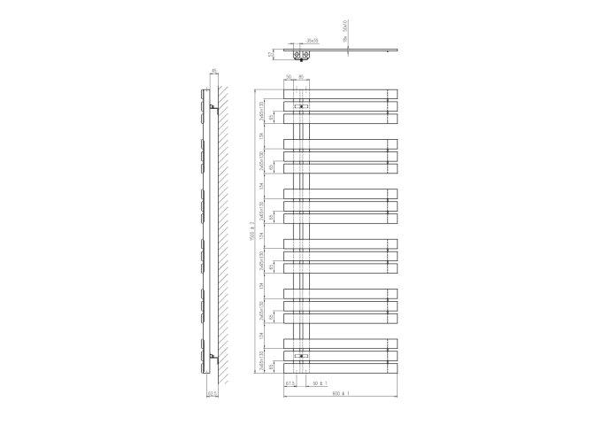 Designradiator Sapho Silvana Recht 60x150 cm 771W Zilver