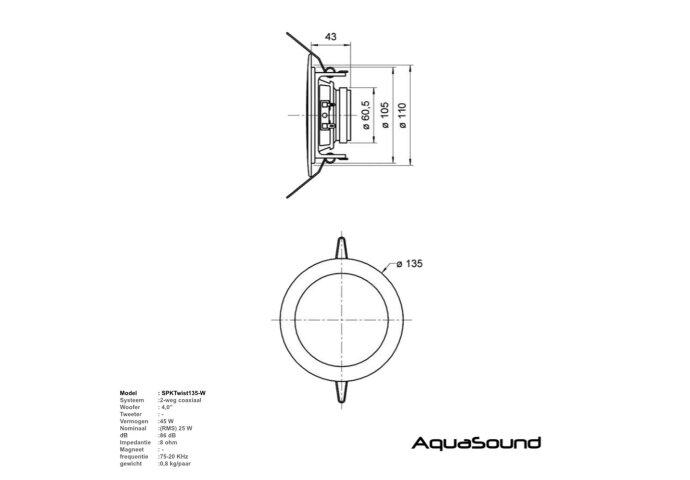 Music Center Aquasound N-Joy Controller (IPX7) + Wand Lader + Twist Speakerset + Mini-Box / 50 Watt