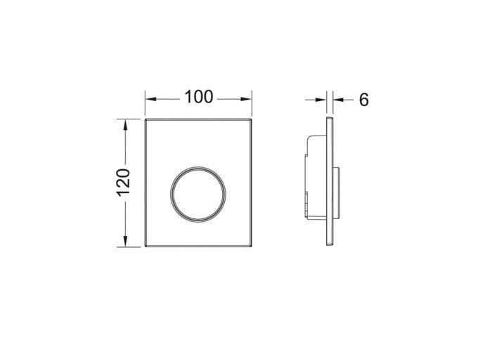 Urinoir Bedieningsplaat TECE Loop Kunststof 10x12 cm Glanzend Chroom