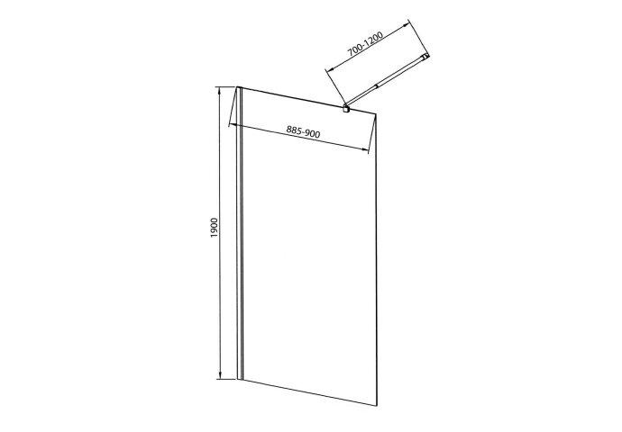 Inloopdouche Sapho Walk-In 90x190 cm met Muurprofiel Helder Glas