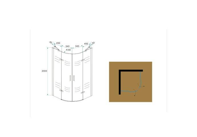 BWS Kwartronde Douchecabine 100x100 cm met 2 deuren 8mm NANO coating