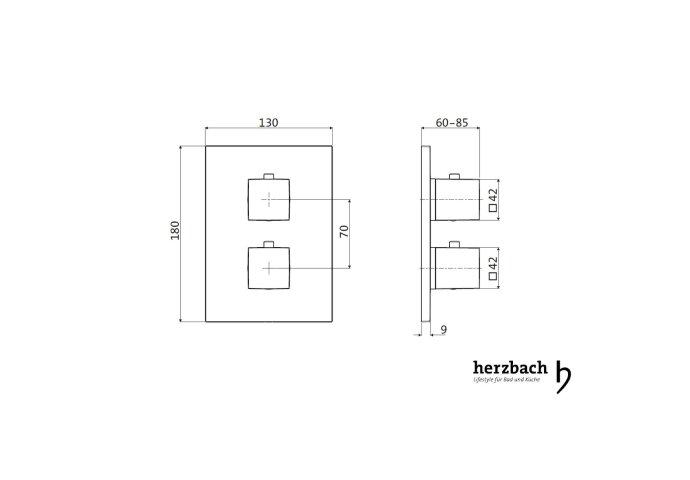 Inbouw Thermostaatkraan Herzbach Living Rechthoek 3-Weg Omstel Chroom
