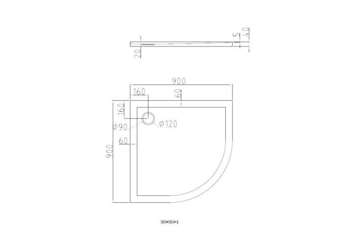 Douchebak Best Design Radius 550 Kwart rond 90x90x4cm