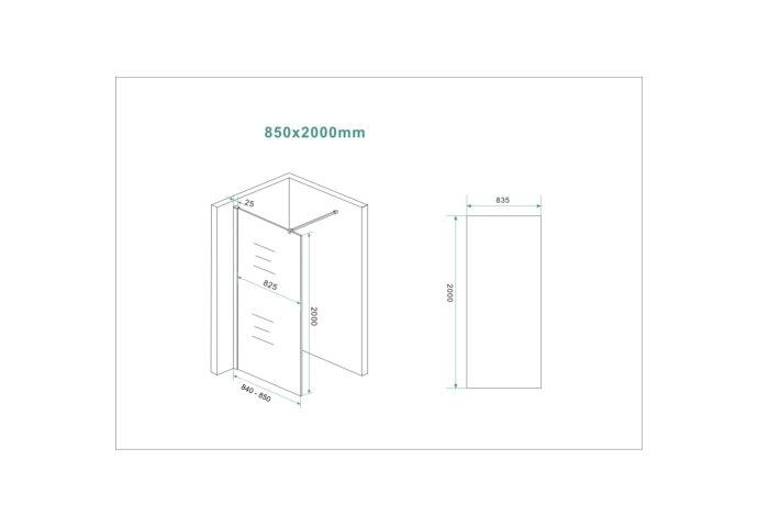 BWS Inloopdouche Pro Line Helder Glas 85x200 Mat Wit Profiel en Stabilisatiestang