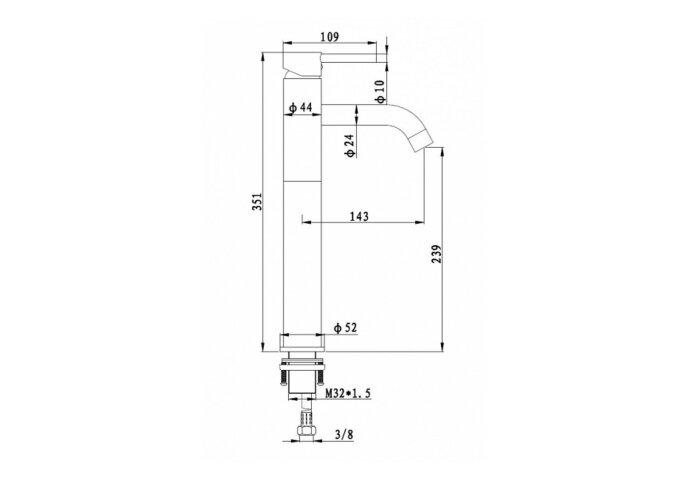 Wastafelmengkraan Best Design Mitaal 35.1 cm 1-hendel Mat Zwart