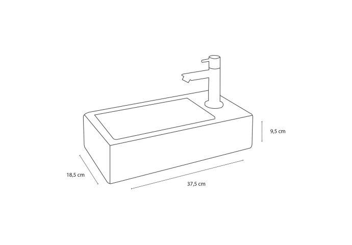 Fonteinset Differnz Helios 37.5x18.5x9.5 cm Keramiek Wit (inclusief kraan sifon en afvoer)