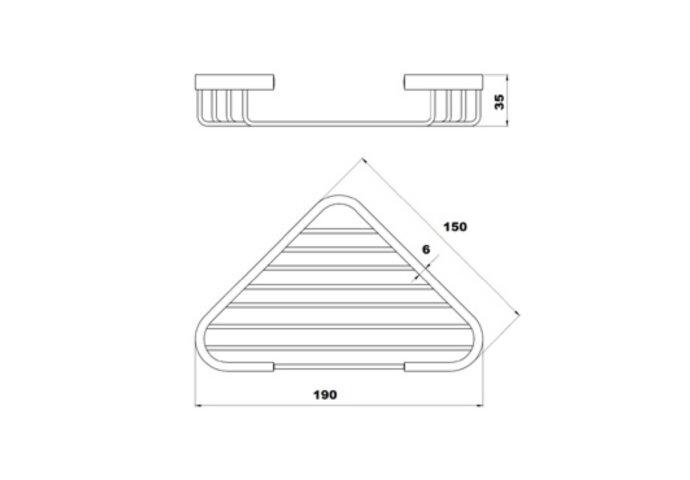 Hoekzeepschaal Plieger Uni 15x19x3,5cm Chroom