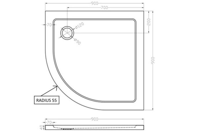 BWS Luxe Kwart Ronde Douchebak Inbouw SMC 90x90x4 cm Wit
