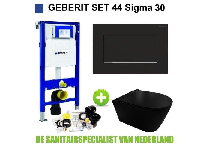 Geberit UP320 Toiletset set44 Civita Black Rimless Met Sigma 30 Matzwarte Drukplaat
