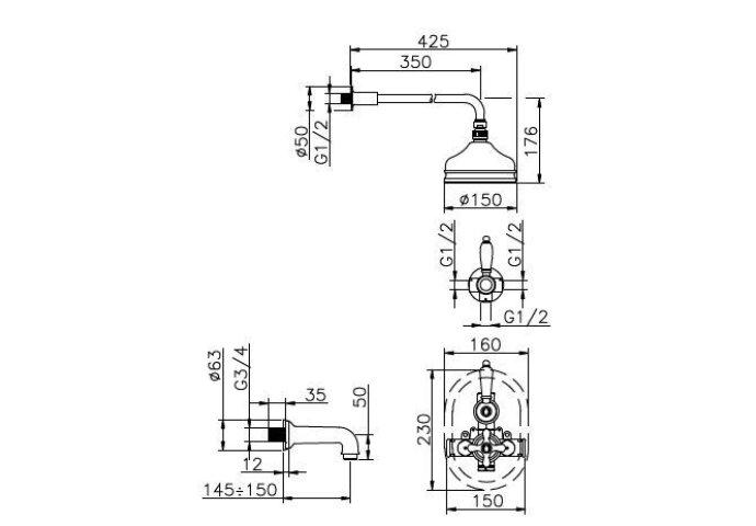 Huber Croisette Inbouwset Bad/Doucheset RVS 916CS01HNS