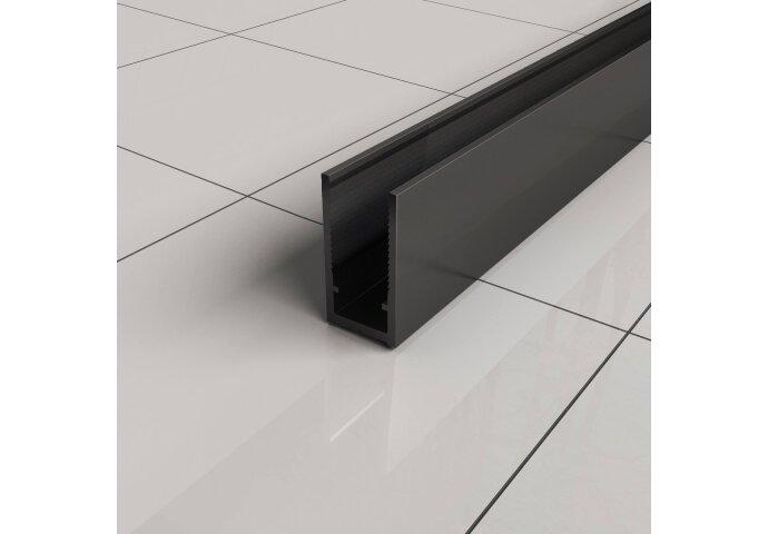 BWS Inloopdouche Pro Line Helderglas 100x200 8mm Nano Coating Mat Zwart Profiel en Stang