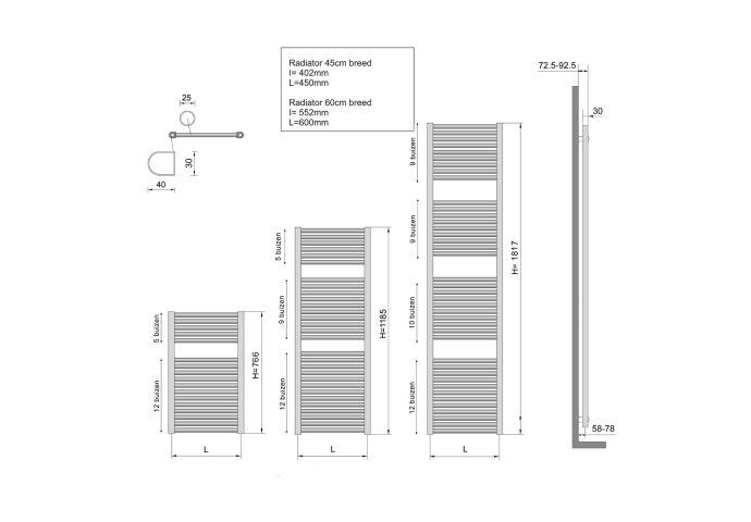 Radiator Wiesbaden Elara 181,7x45 cm Midden-Onder Aansluiting Mat Zwart (830 Watt)