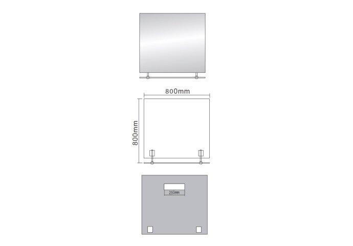 Badkamerspiegel Sapho Wega 80x80 cm met Planchet Glas