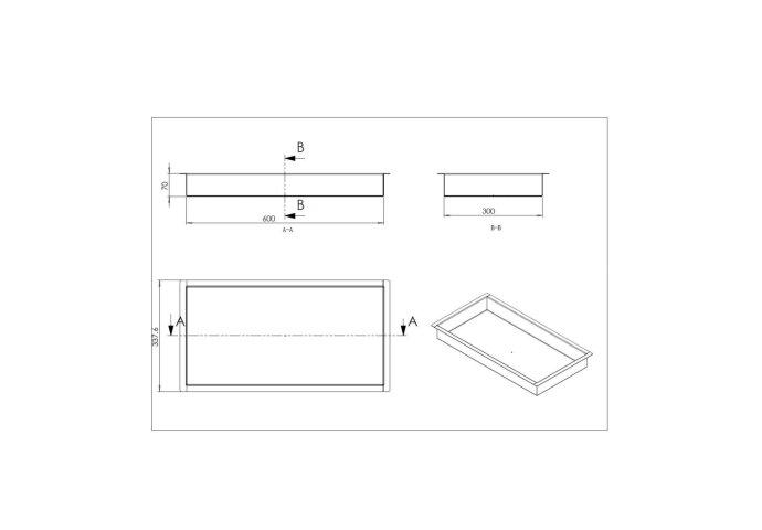 Inbouwnis Wiesbaden 30x60x7 cm RVS Goud-shop