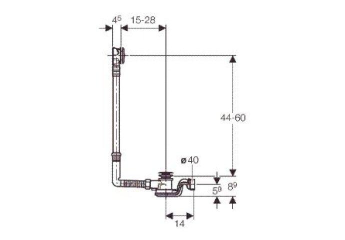 Geberit Pushcontrol Badwaste M/sifon 44-66 Hoog / 15-28 Naar Voren Chroom