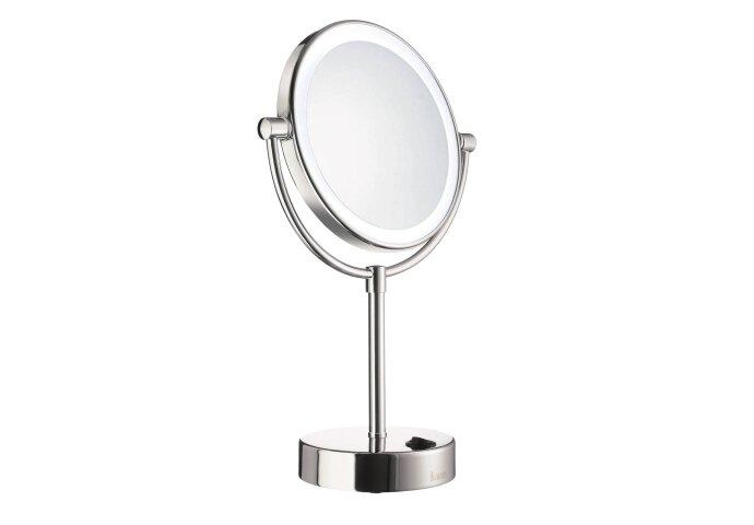 Smedbo Outline LED Make-up Spiegel Vrijstaand 18cm 5x Vergrotend Chroom