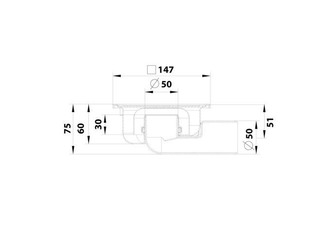 Doucheput Aquaberg Blücher Compact RVS Vloerput ABS Zij en Onderuitlaat 50mm 147x147mm met Waterslot 30mm