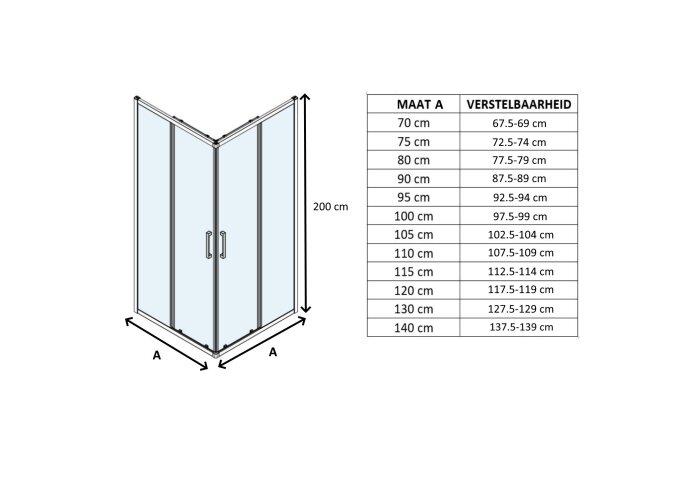 Douchecabine Lacus Vulcano Evo Vierkant Helder Glas Aluminium Profiel Chroom (alle maten)