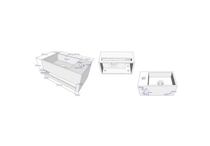 Fonteinset BWS Solid Surface met Handdoekhouder Links Mat Zwart / Goud (inclusief kraan, afvoer en sifon)