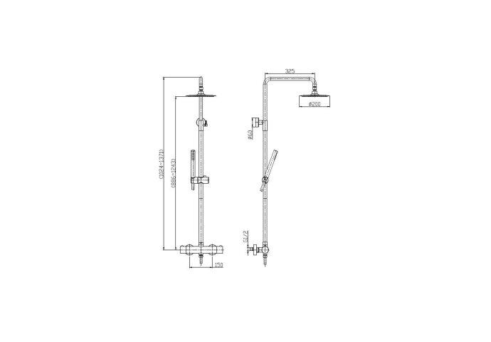 Opbouw Regendouche Set Boss & Wessing Lusso Thermostatisch Hoofddouche 20 cm Rond Mat Zwart