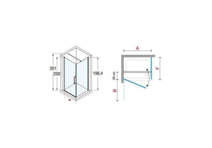 Douchecabine Novellini Young G+F met Draaideur Helder Glas 100x200 cm Mat Zwart Profiel
