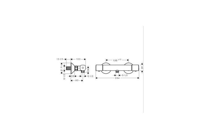 Hansgrohe Douchethermostaat  Ecostat S Universele 15 cm Chroom