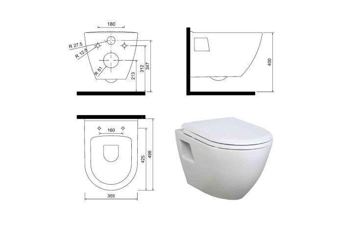 Wandcloset Creavit TP325 Compact Wit 49.8 cm (Exclusief zitting)
