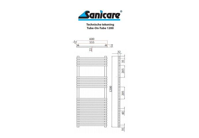 Radiator Sanicare Tube-On-Tube Inclusief Ophanging 60x120 cm (alle kleuren)