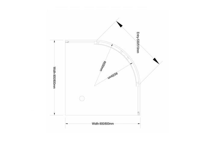 AKTIE Douchecabine Boss & Wessing Kwartrond 2 Schuifdeuren 90x90 cm 4 mm