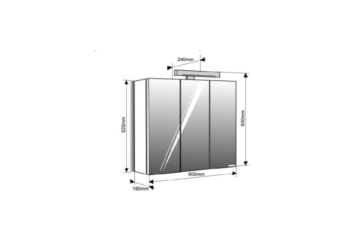 Spiegelkast Allibert Pian'o 60x61x18 cm Wit (Nederlands stopcontact)