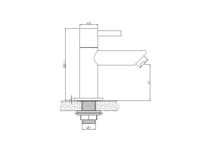 Fonteinkraan Boss & Wessing Lusso 11 cm Mat Zwart