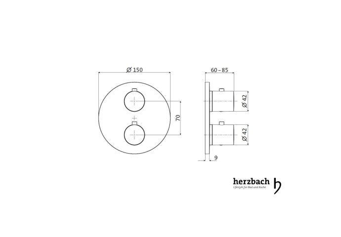 Inbouw Thermostaatkraan Herzbach Living Rond 2-Weg Omstel Chroom