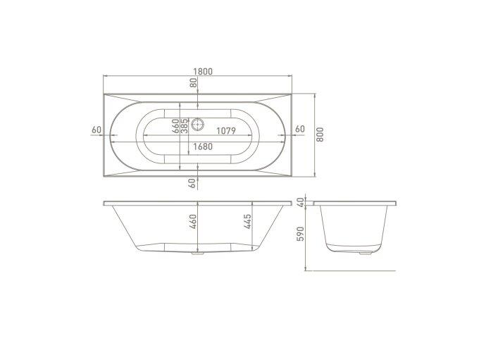 Inbouwbad Van Marcke Avalanche 180x80x40 cm DUO Extra Diep Acryl Wit (incl poten)