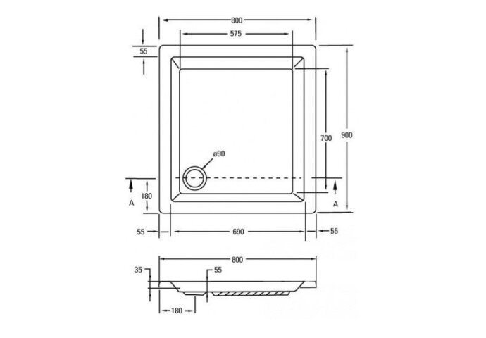 Douchebak acryl wit 90 x 80 cm rechthoek 5cm hoog (Douchebak)
