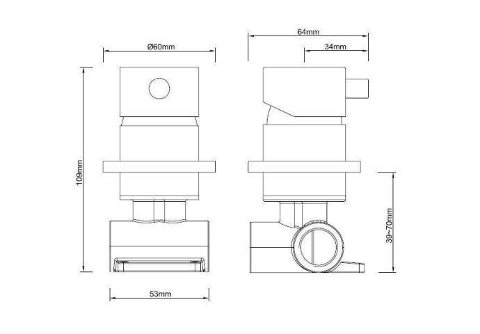 Caral inbouw-mengkraan zonder uitloop chroom (Bidetkraan)
