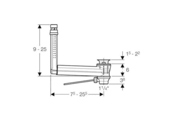 Geberit Clou overloopsysteem technische tekening